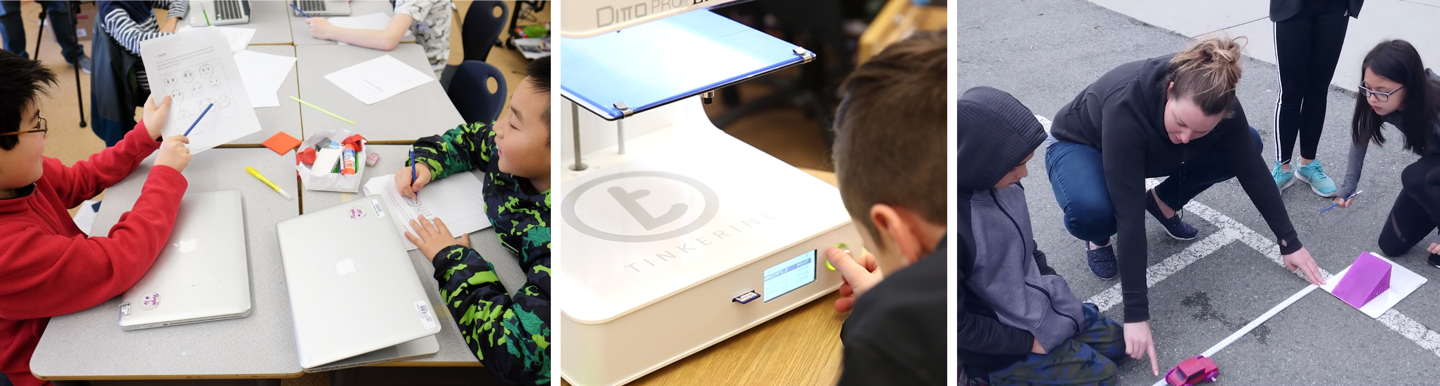 Students utilizing 3d printing in classrooms with their teacher