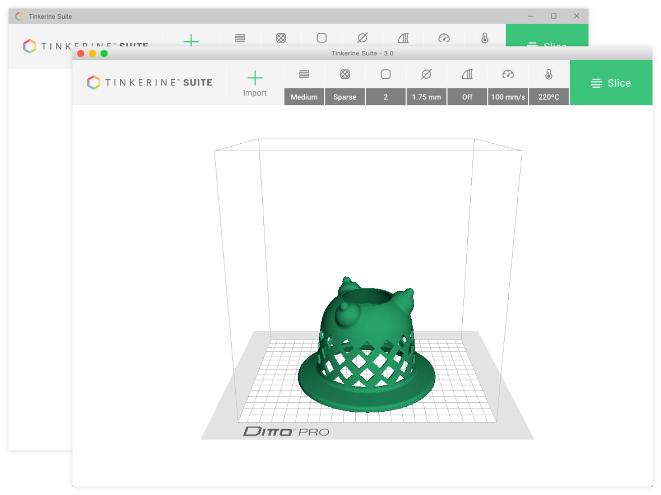 Tinkerine Suite Mac and Windows interface screenshot with 3d model.