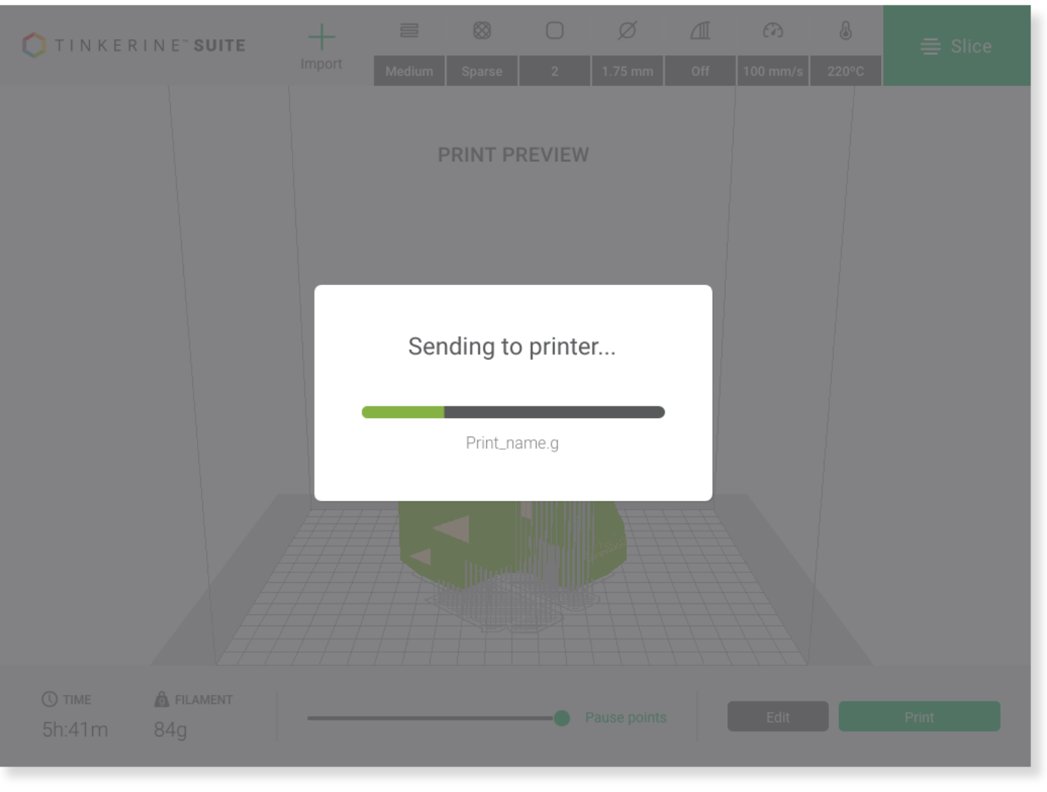 Tinkerine Suite interface showing wifi sending to printer function.